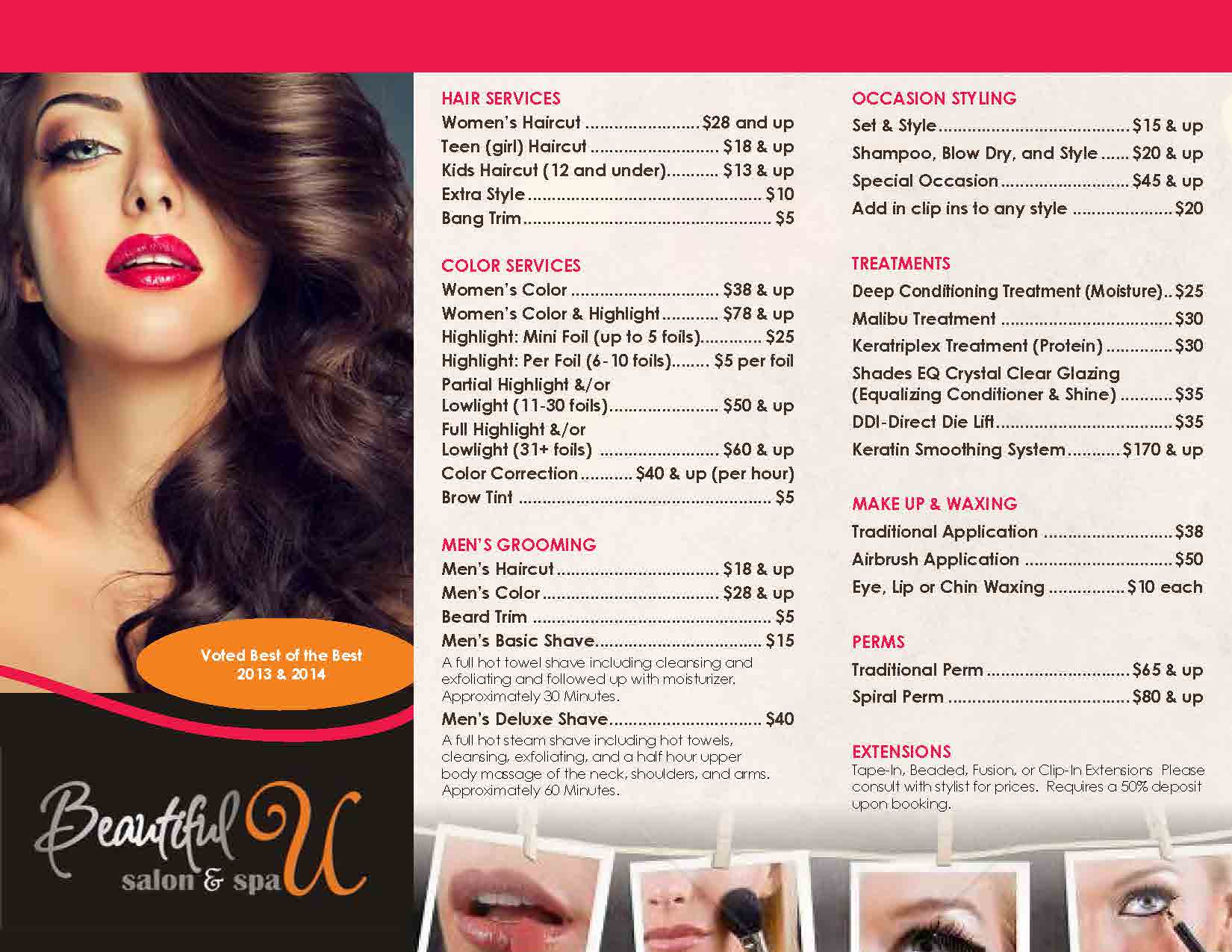 Lapeer salon beautiful u salon spa salon services trifold v2page1 salon services trifold v2page2 pmusecretfo Image collections